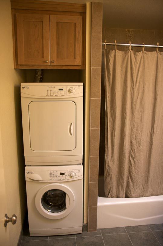 bathroom remodel with stackable washer dryer | Cozy Home Washers ...