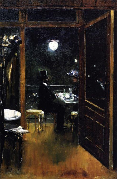 huariqueje:  Café Baver - Lesser Ury 1906 Impressionism