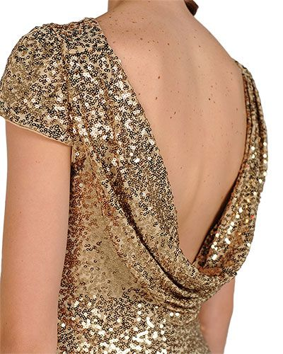 SC1305 Sequin Cowl Back Cocktail Dress by Badgley Mischka