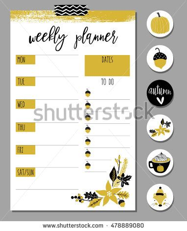 Organizer and Schedule set with Notes list, stickers, flags, tags - weekly schedule template
