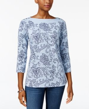 469a551da3f3c9 Karen Scott Floral-Print Boat-Neck Top, Created for Macy's - Blue XL ...