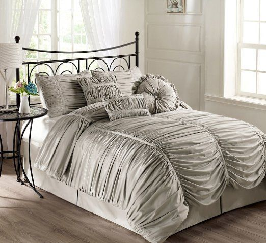 Amazon Com Chezmoi Collection 7 Piece Chic Ruched Silver Gray Duvet Cover Set King Size With Throw P Comforter Sets Throw Pillows Bed Shabby Chic Queen Bed