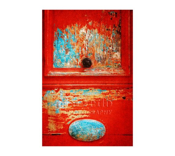 I Love This Print; Red Door Photo, Aqua, Turquoise, Shabby Chic Decor