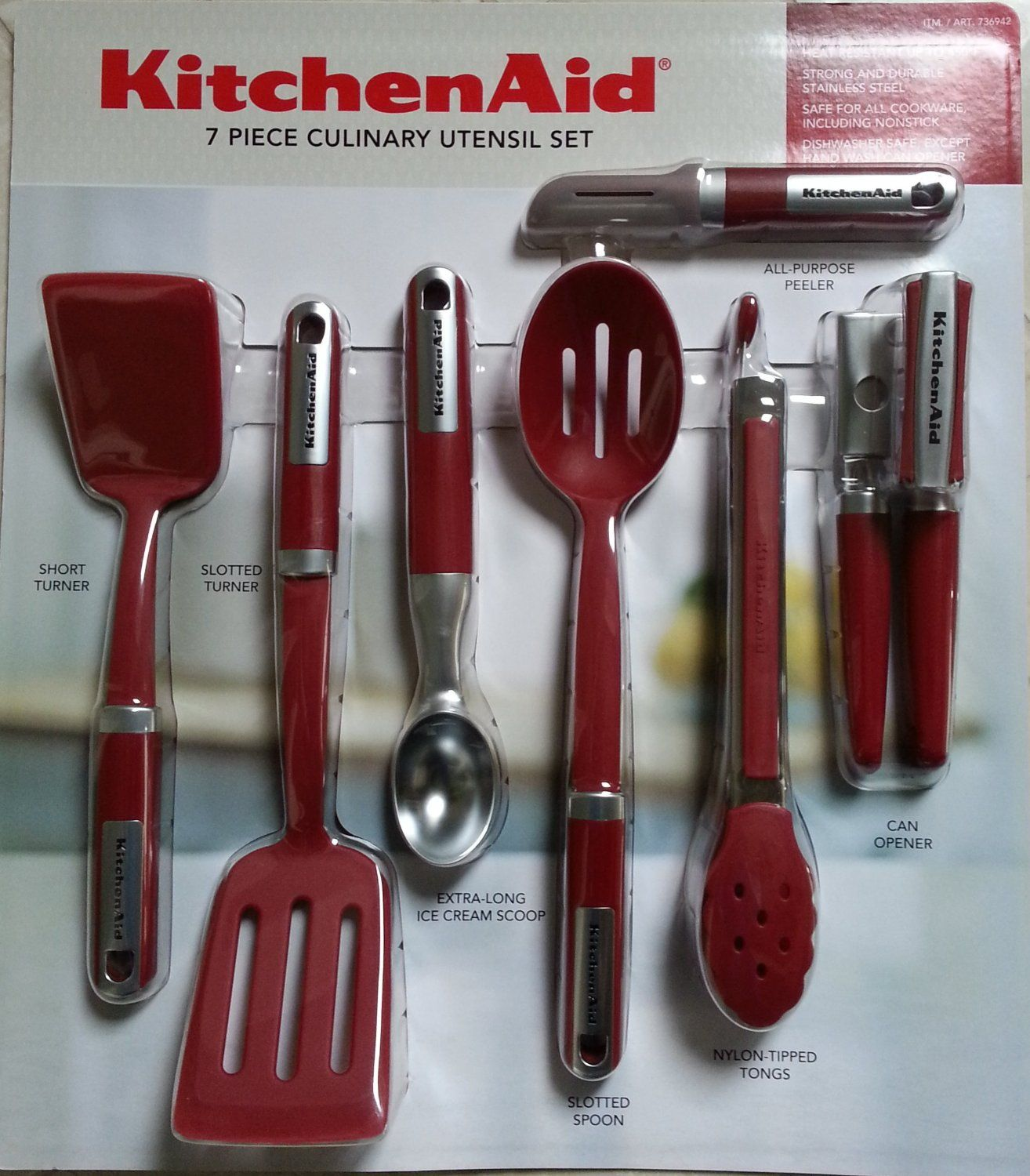 Kitchenaid Cook S 7 Piece Culinary Utensil Set Red Set Includes