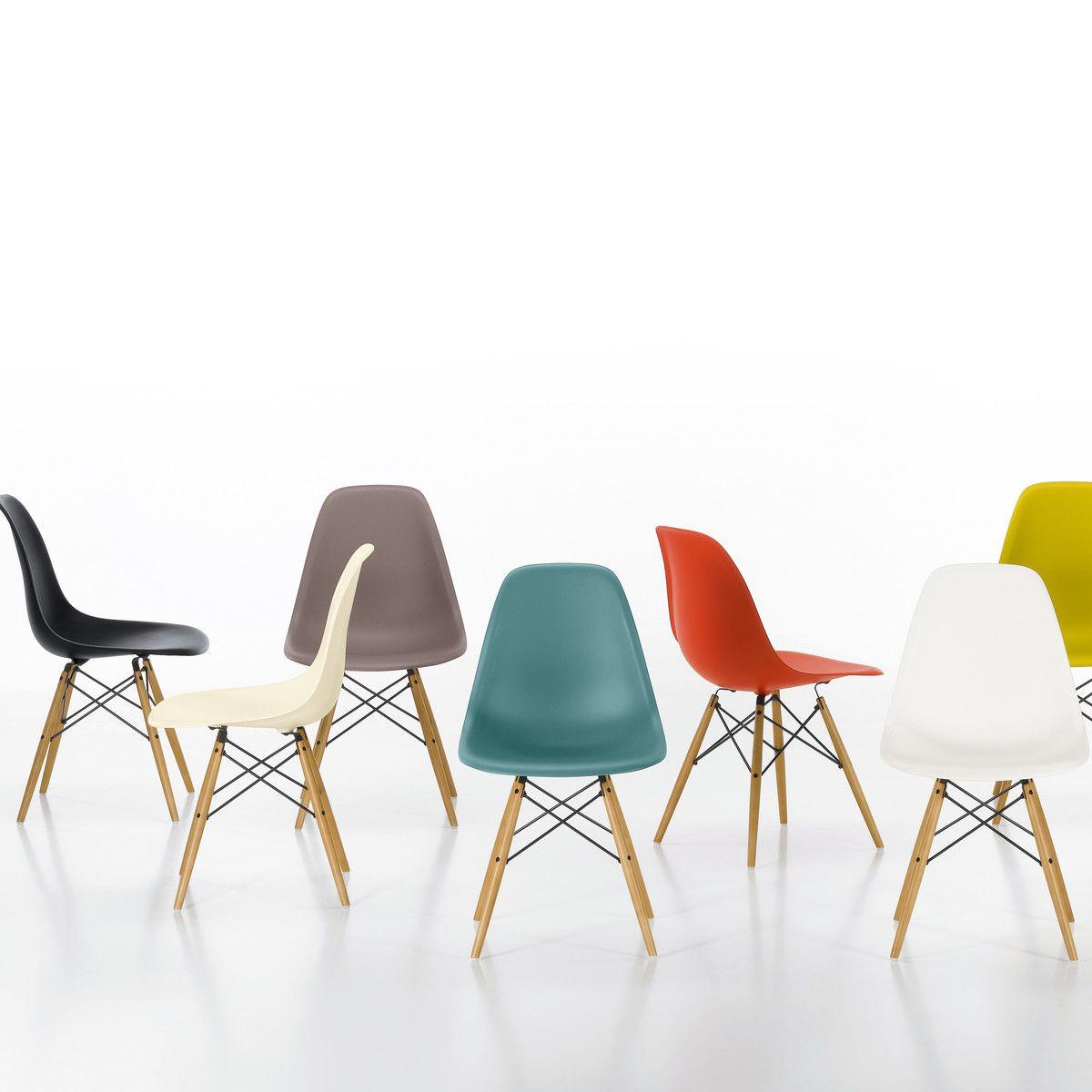 Vitra   Eames Plastic Side Chair DSW (H 43 Cm), Ahorn Gelblich / Weiß,  Kunststoffgleiter Weiß