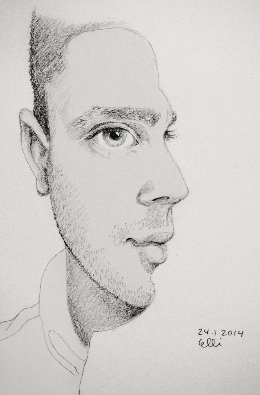 Side By Face By Elli 24 1 2014 Sketch Sketchaday Drawing Man Portrait Face Side Pencil Male Face Drawing Interesting Drawings Sketch A Day