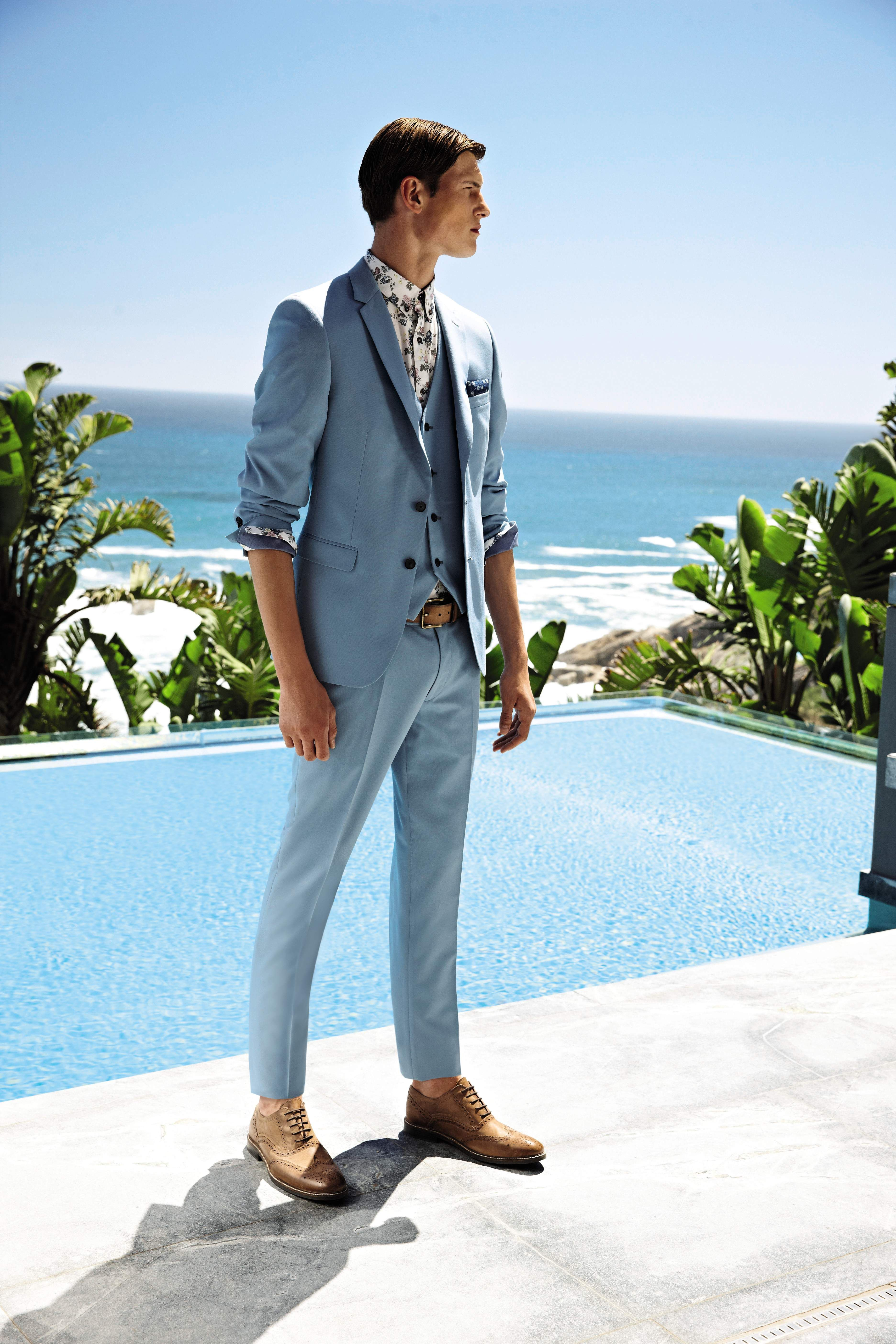 Sleek powder blue suit - the perfect summer suit #matalansummer ...