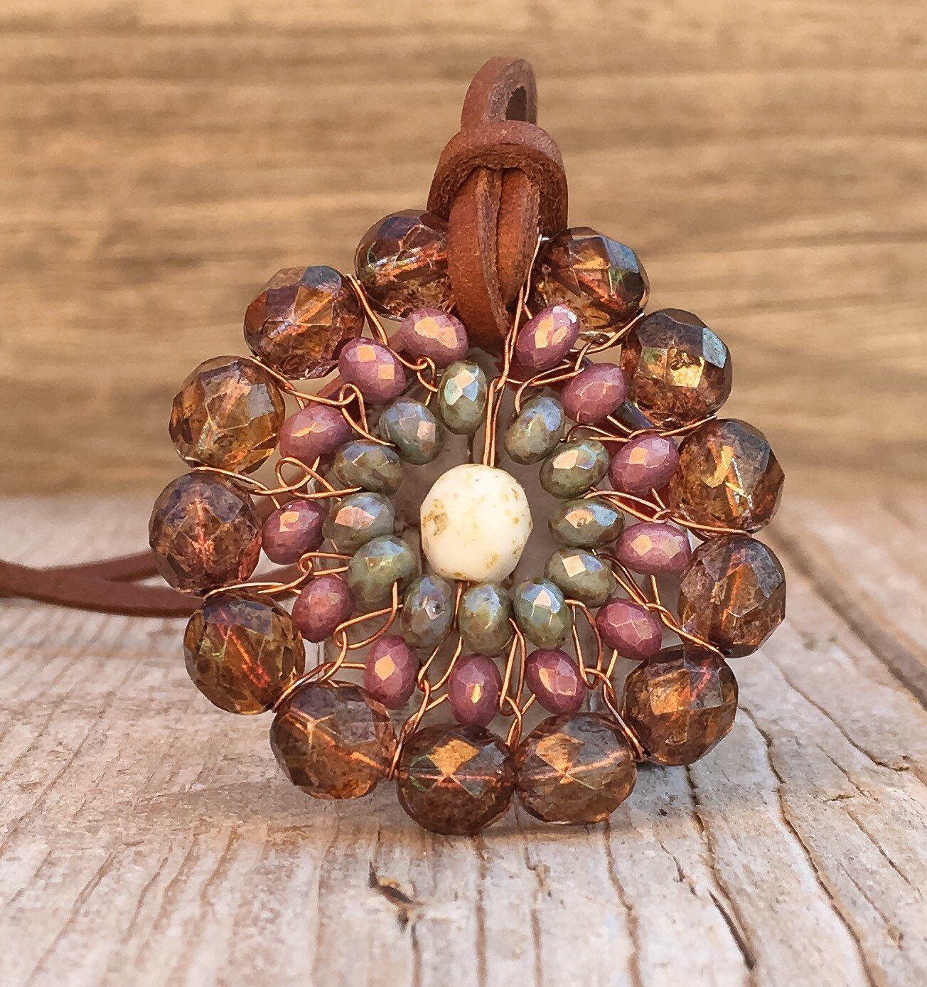 Boho Flower Beaded Necklace / Boho Flower / Hippie Necklace ...