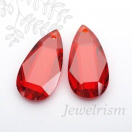 Faceted Teardrop Cubic Zicornia Bead, 20mm x 10mm, 2 Pc - Garnet ($7.25)