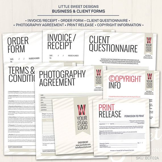 6 pce Photography Business \ Client Forms - Photoshop Template for - photography order form