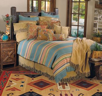 Big Sur Bedding Featuring A Leather Fringe Bedskirt And Colorful  Southwestern Prints By Double D Ranch