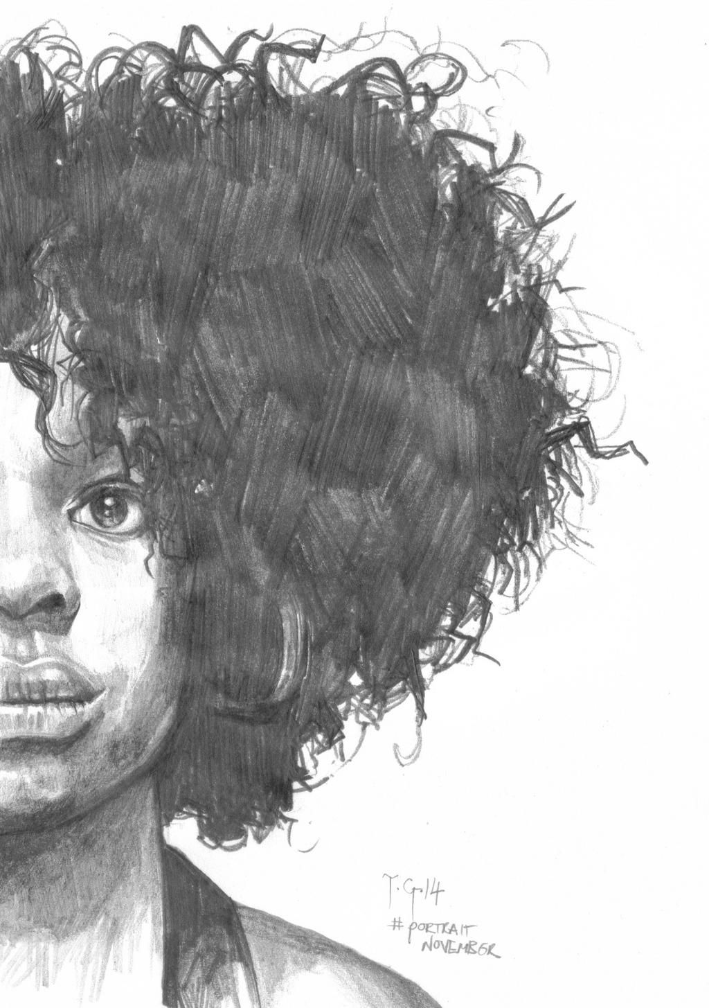 Portraitnovember thedailysketch small pencil drawing of a woman with an afro again playing with tones cropping