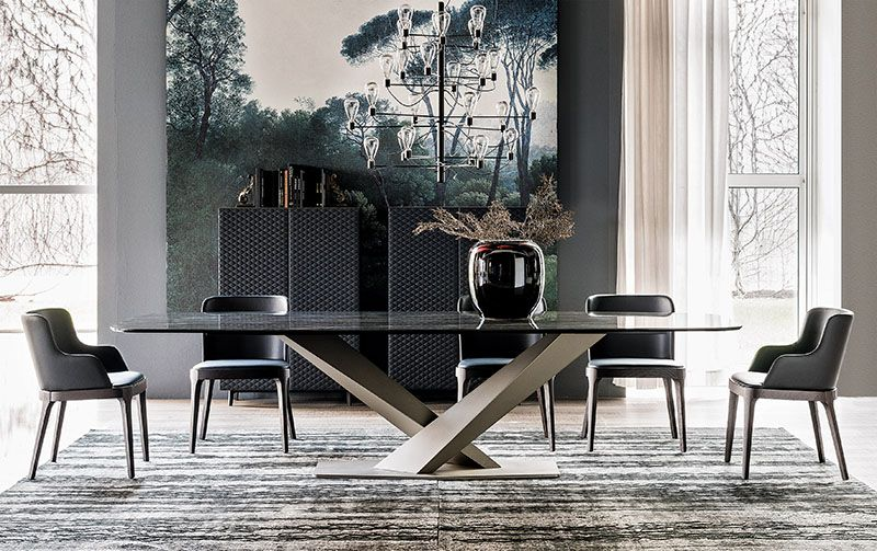 Cattelan Stratos Ceramic Dining Table Fixed Glass Dining Table