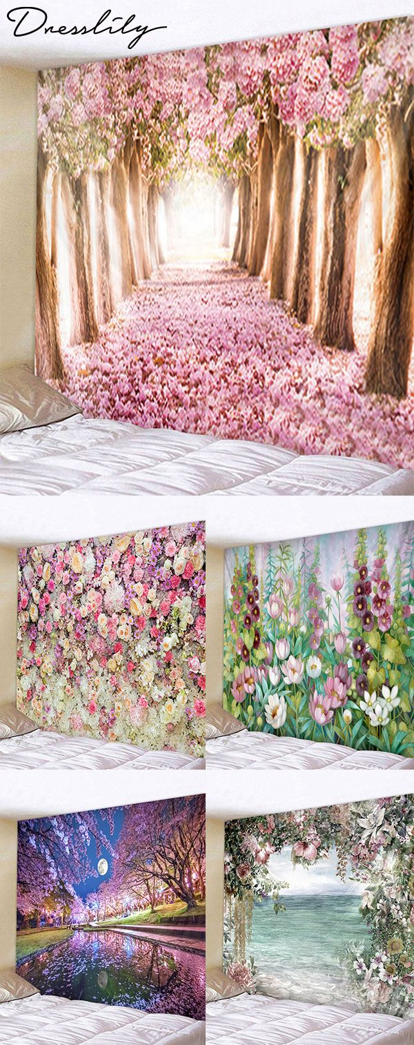 89e66d6d73 DressLily Flower Trees Print Tapestry Wall Hanging Decoration.  dresslily