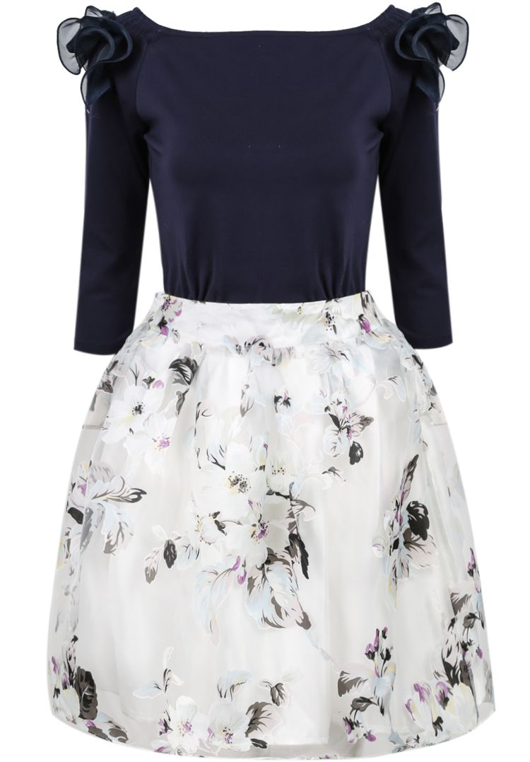 Shop Navy White Long Sleeve Floral Ruffle Dress online. Sheinside offers Navy White Long Sleeve Floral Ruffle Dress & more to fit your fashionable needs. Free Shipping Worldwide!