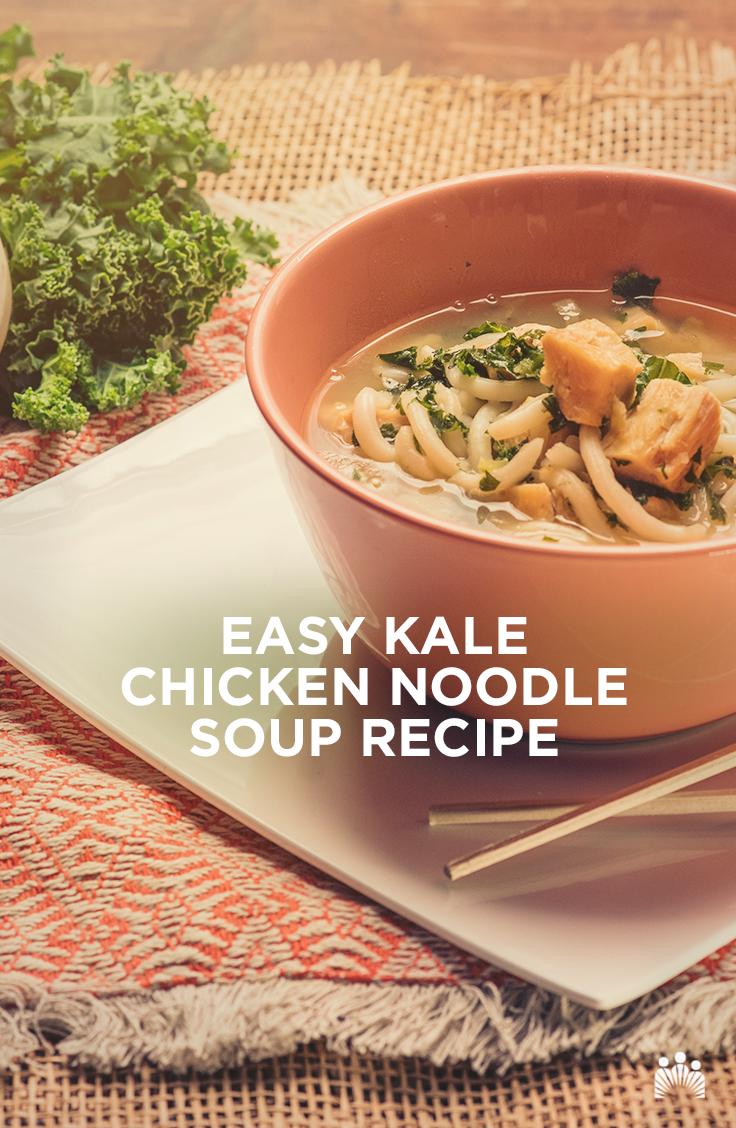 An Easy Kale Chicken Noodle Soup Recipe Soup Easy Soup Recipes