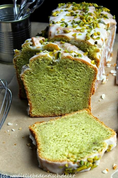 Photo of Avocado cake with icing of lime and pistachios