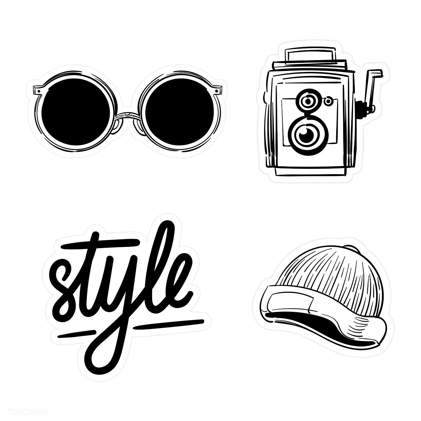 Download premium vector of Set of black and white sticker
