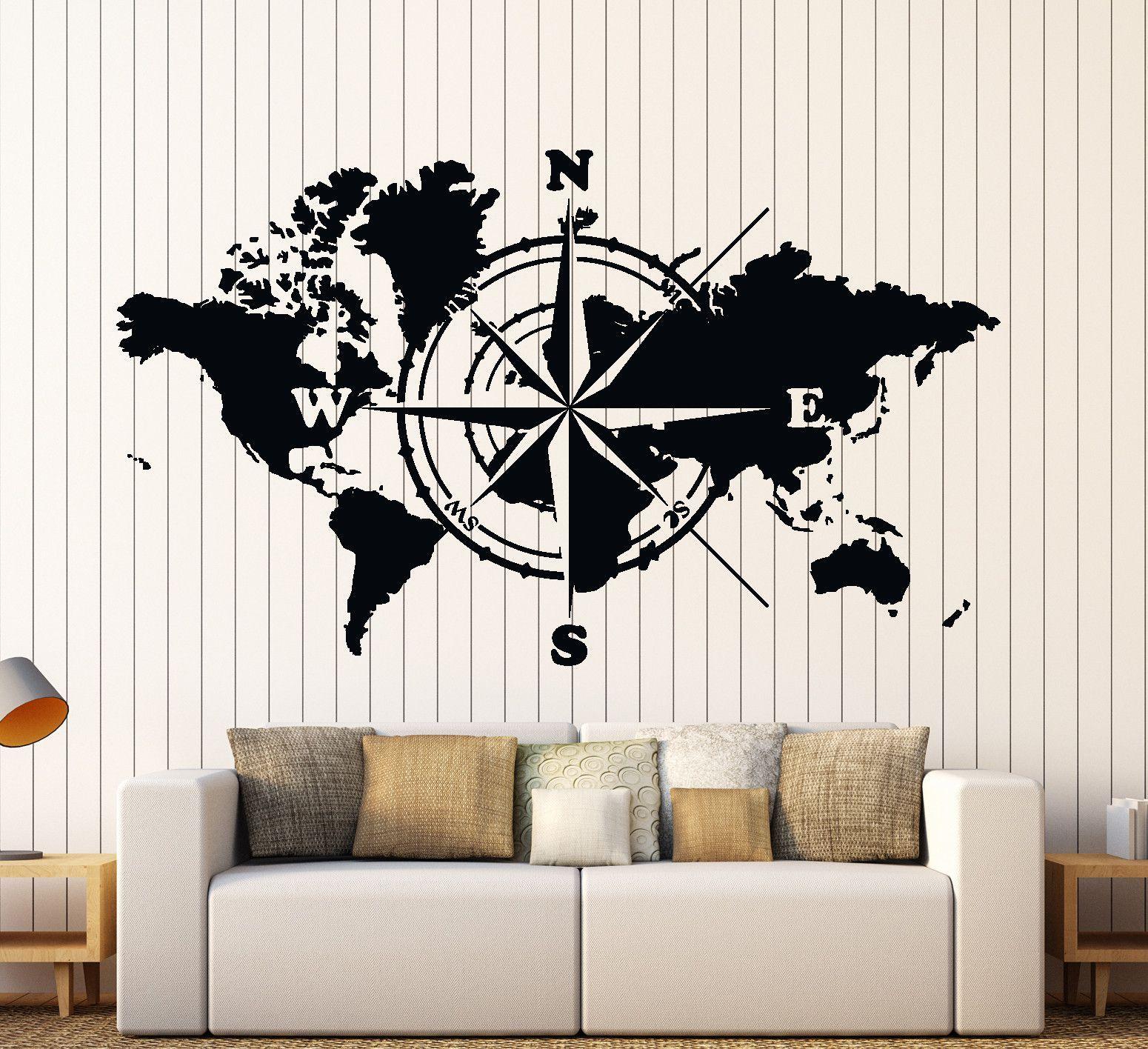 Wall Vinyl Decal World Map Atlas Of The World Compass Home Interior Decor z4422