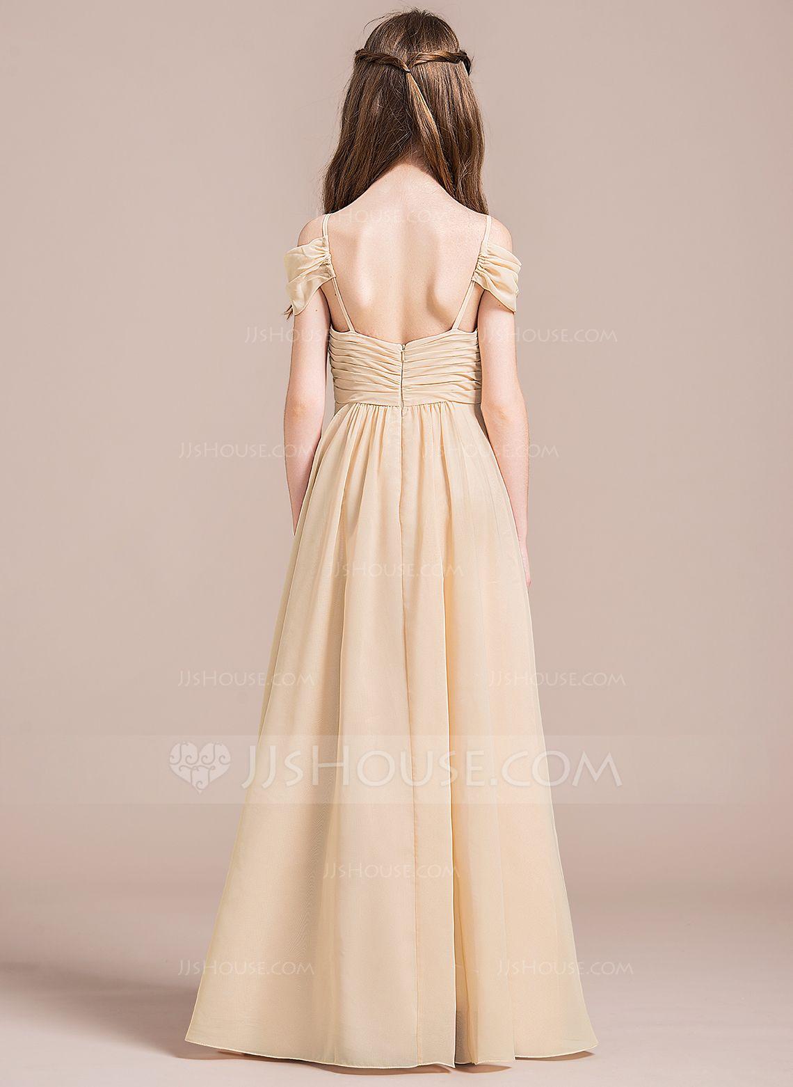 Champagne Chiffon Junior Bridesmaid Dresses