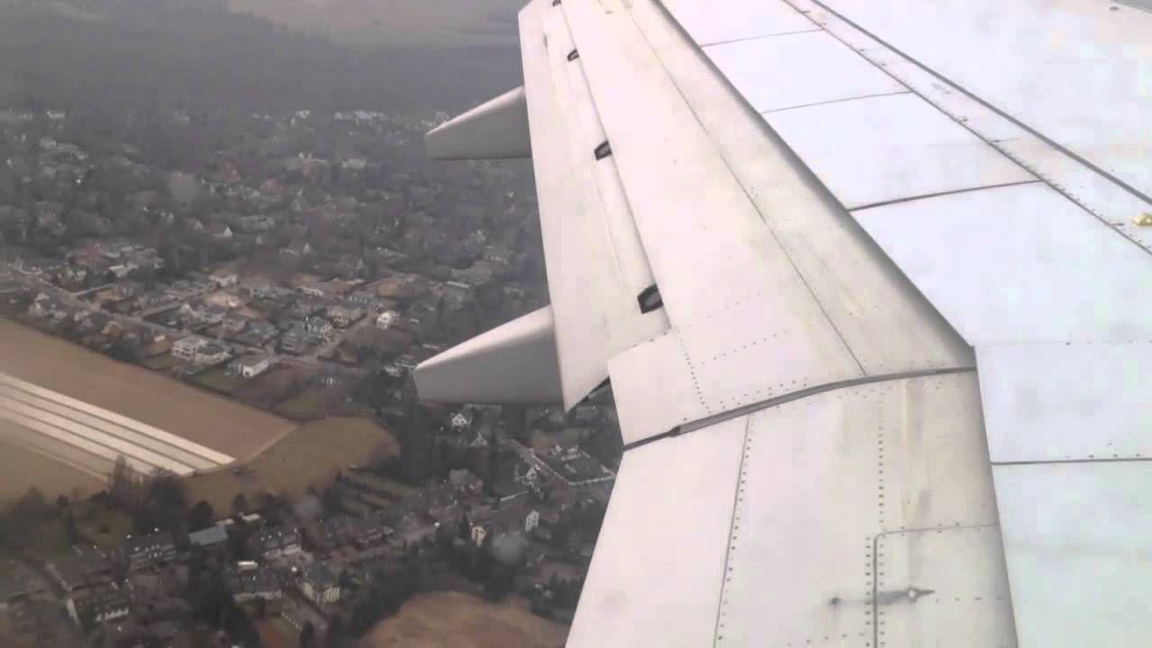 Landeanflug und Landung am Düsseldorfer Flughafen