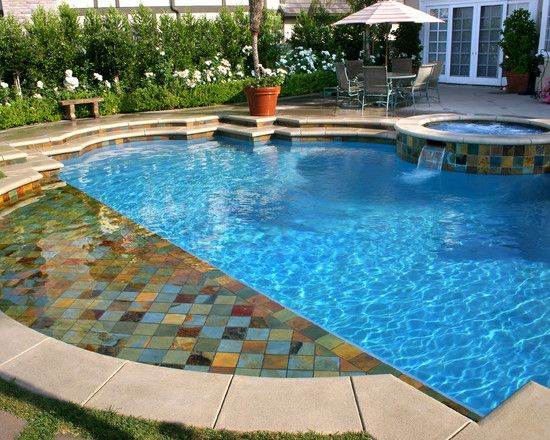Pool Waterline Tile Ideas nautilus crystal glass waterline tile the pool tile company swimming pools 2 Level Look Of Coping And Raised Deck At Back Of Pool Pool Waterline