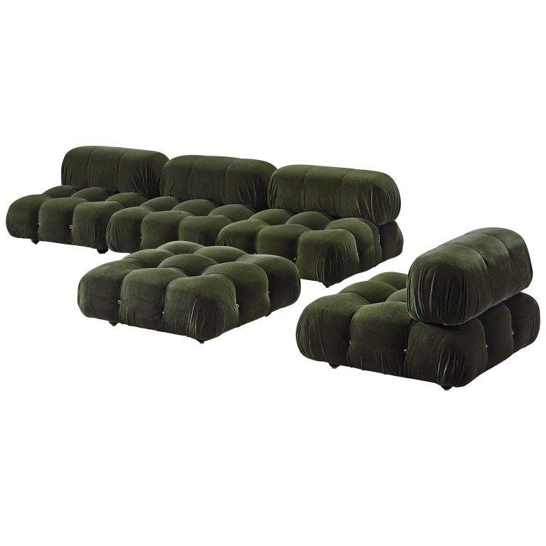 Mario Bellini Green Camaleonda Modular Sofa In Alpaca Wool Modular Sofa Sofa Reupholstered Vintage Sofa