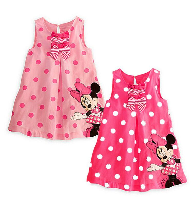Toddler Kids Girl Fashion Summer Dress Minnie Mouse Sleeveless Cotton Tutu Dress