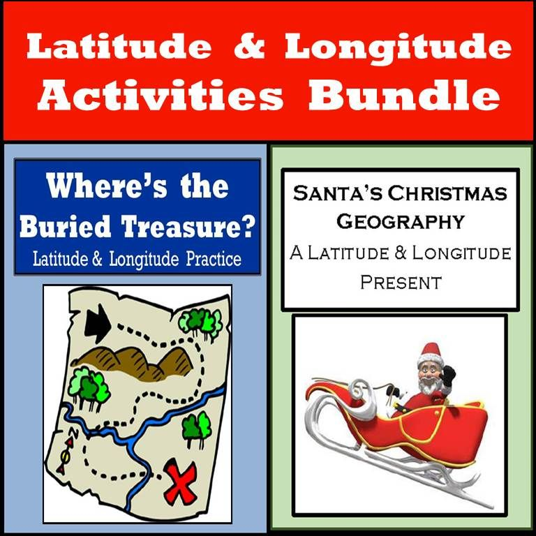 Are you trying to figure out a way to keep students engaged as their energy level is skyrocketing before winter vacation?  Here's a couple of fun geography activities to do with kids as a friendly class competition or as a way for students to fine-tune their latitude and longitude skills.  One activity will keep the theme of Christmas going and one is 10 different treasure hunts to reinforce their geographic coordinate skills.