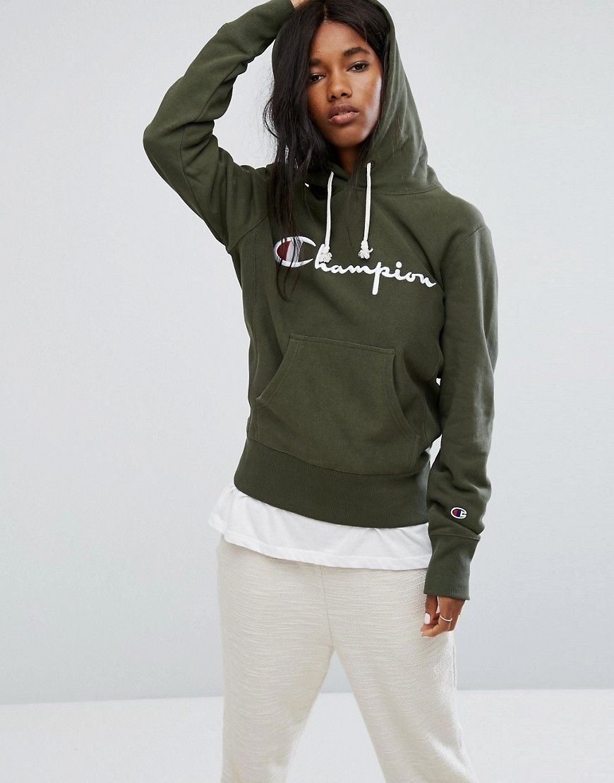 Champion Hoodies Hoodie Over Pull Front Clothing Logo With nrrpx0Fq4w
