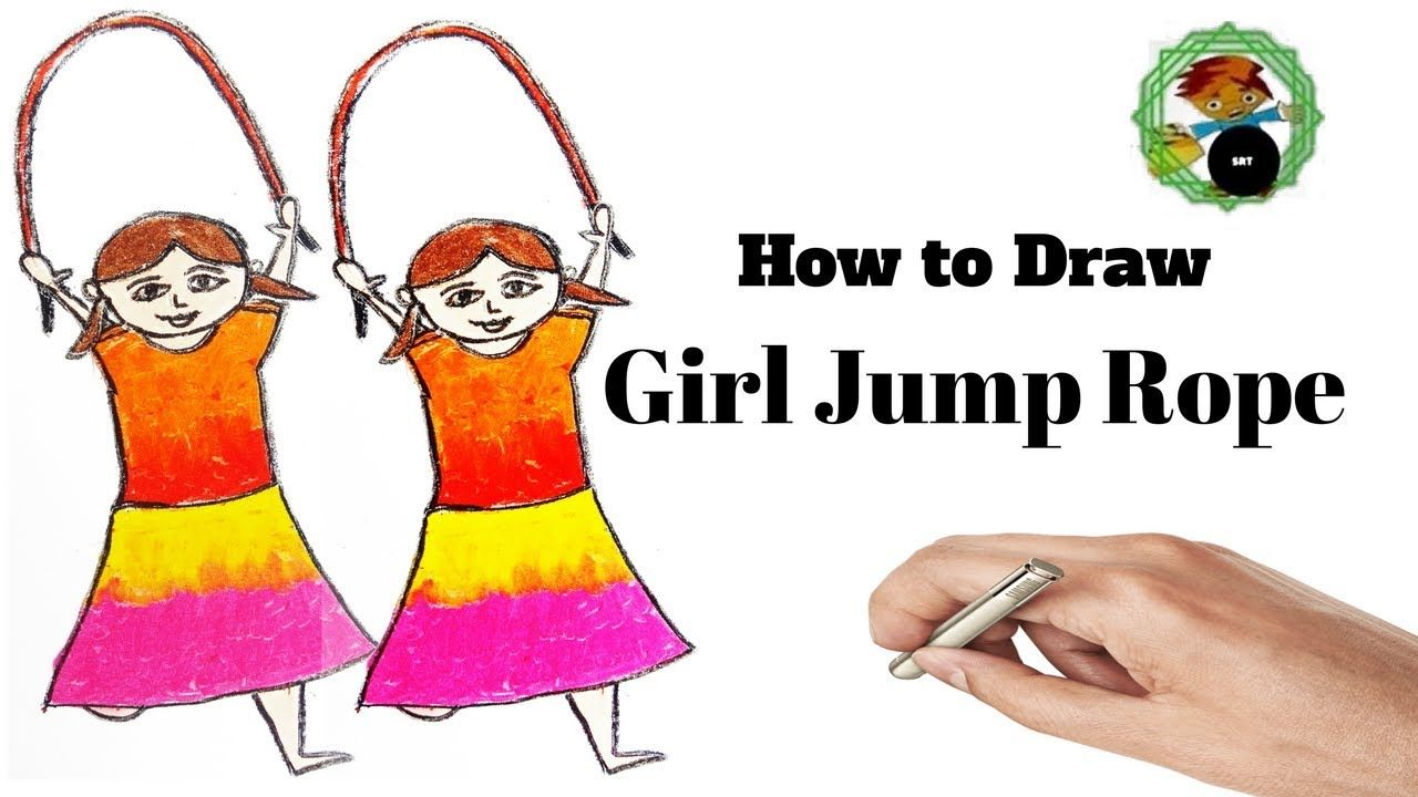 how to draw cartoon girl jump rope for baby coloring book and