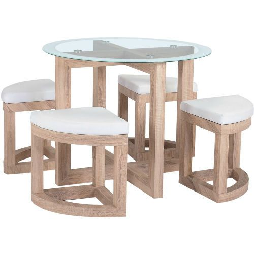 Round Gl Dining Table 4 Chairs E Saving Kitchen Furniture Set White Seat Unbranded Contemporary