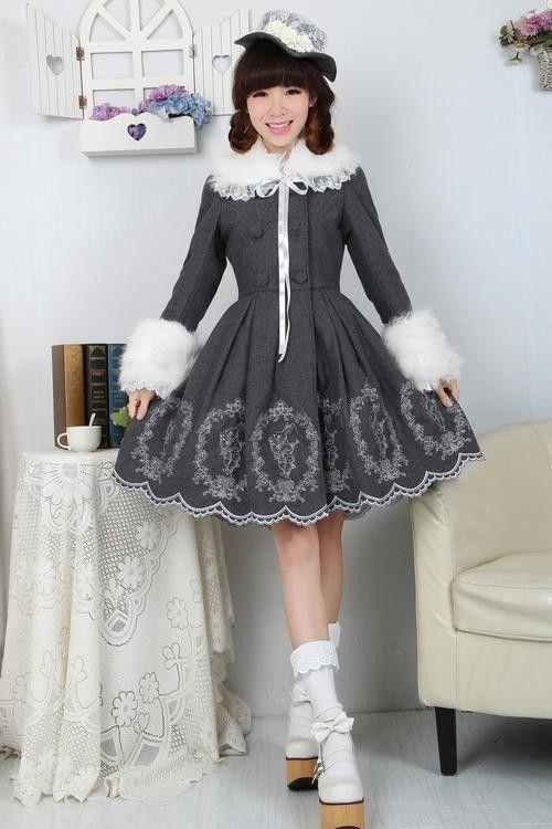 Dream of Lolita Grey Alice Rabbit Embroidery Jacket