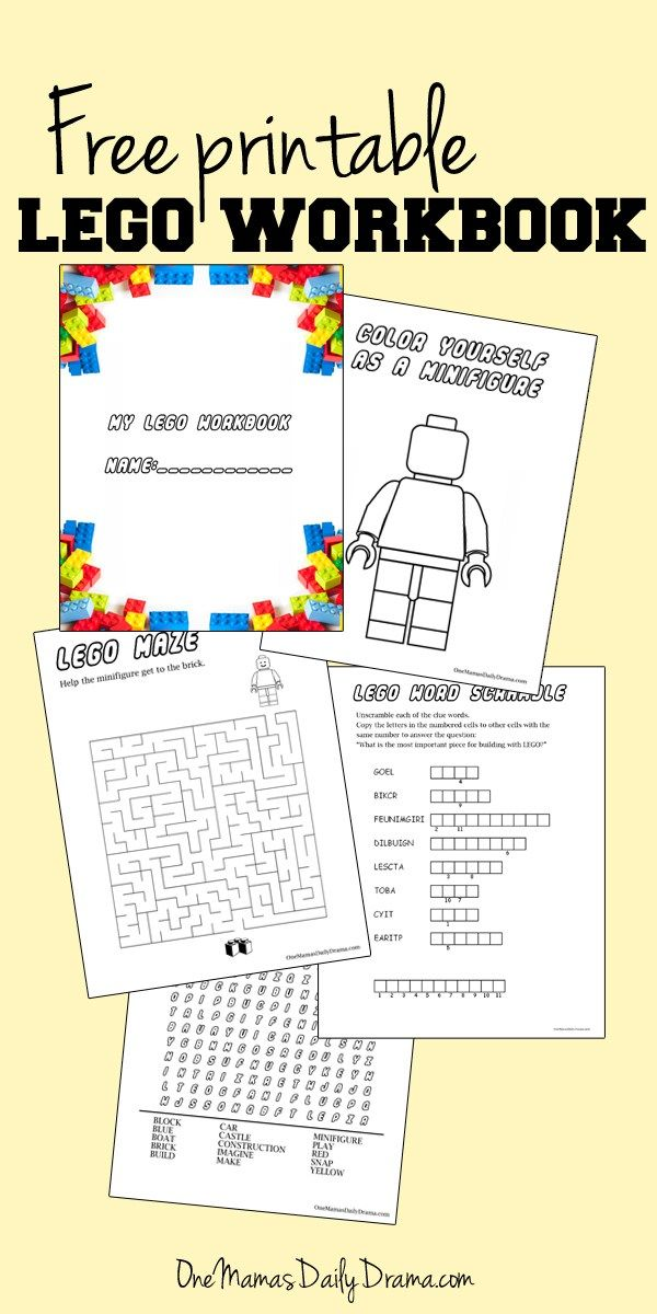 Free printable LEGO workbook Israel Lego party Lego birthday