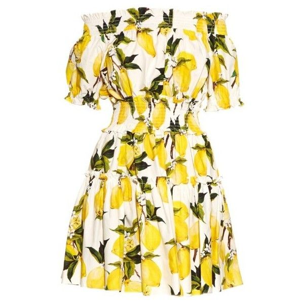Dolce & Gabbana Off-the-shoulder lemon-print dress (€1.095) ❤ liked on Polyvore featuring dresses, yellow print, off the shoulder dress, short-sleeve dresses, dolce gabbana dresses, pattern dress and yellow off the shoulder dress
