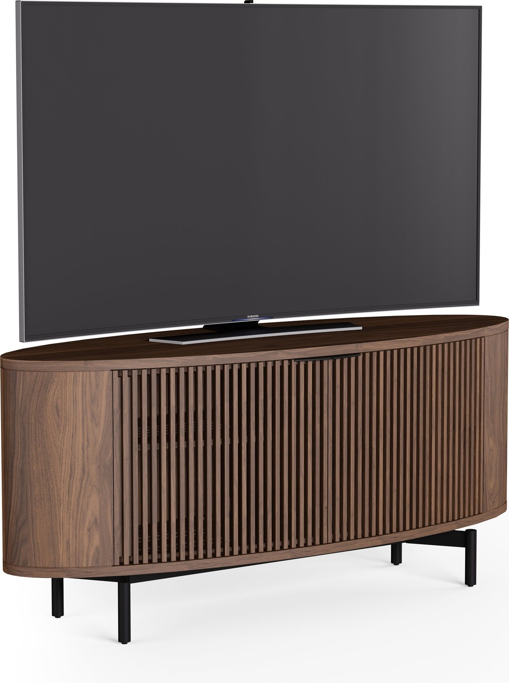 BDI s new 2018 Olis media cabinet with a soundbar platform flow