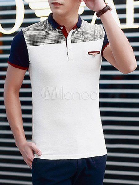 Camisa Polo elegante camisa los hombres con falso bolsillo  29f4cc77bd6