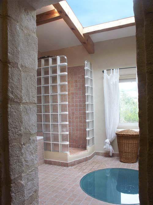 Douche en briques de verre incolore lisse transparent Pièces de
