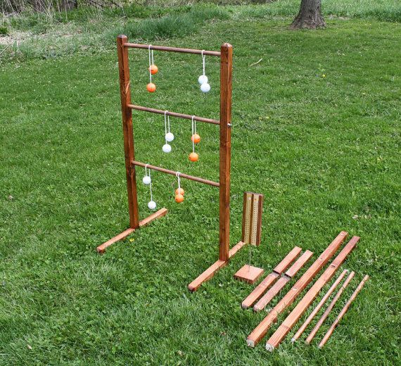 Wooden Ladder Ball Sets For Outdoor Weddings Picnics Family Reunions Personalized Bola Ball Game Sets For Tailgate Events Ladderball Ladder Ball Yard Games Wedding Ladder Golf