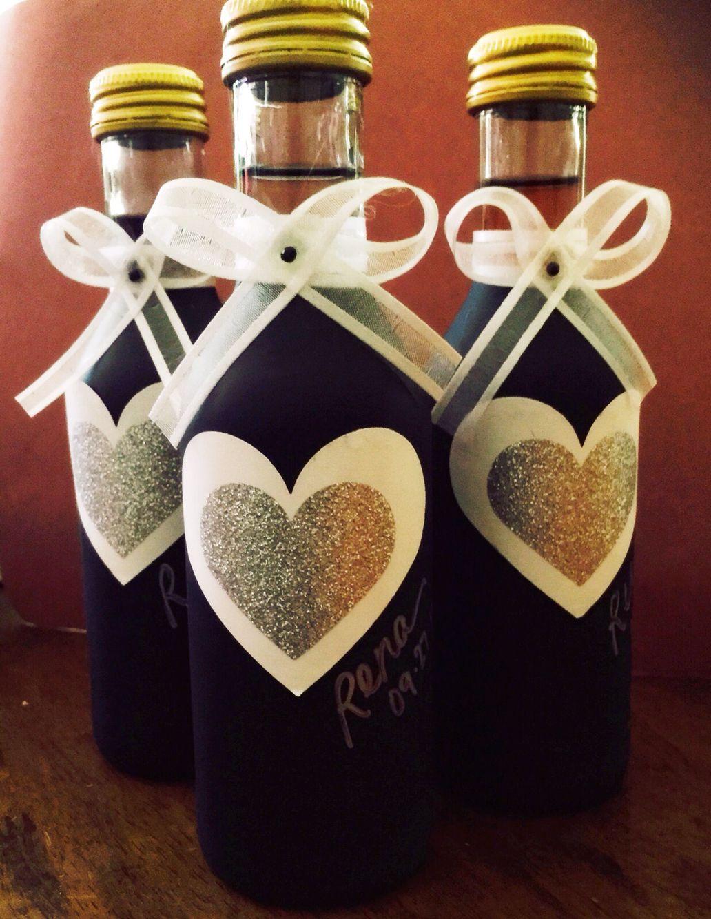 wine wedding shower gift poem%0A Wine bottles coated w  chalk board spray paint  Rena u    s Bridal Shower  Favors