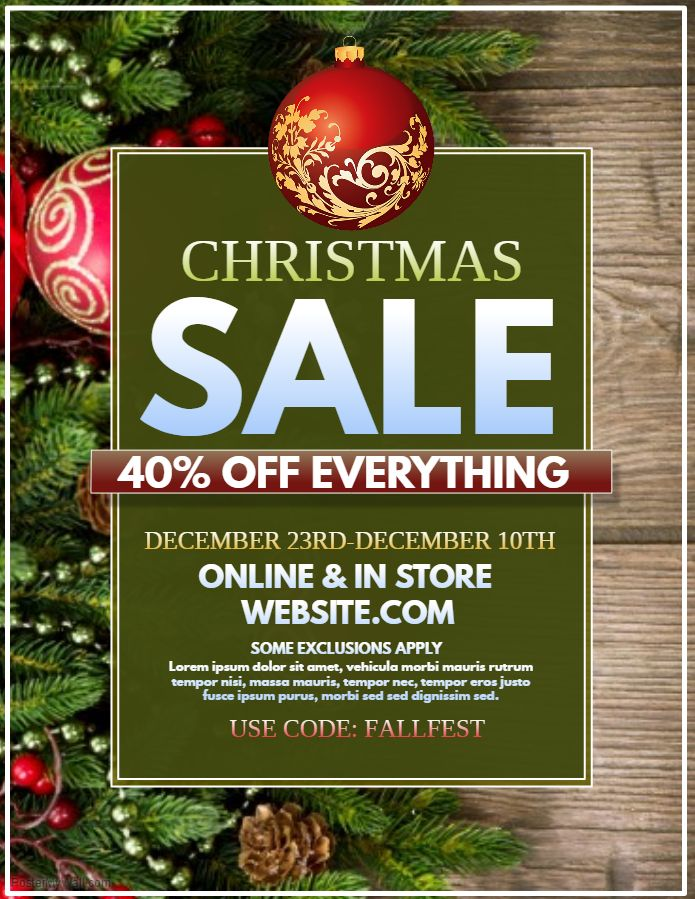 Christmas Sale Offer Flyer Template Graphic Design 2 Pinterest