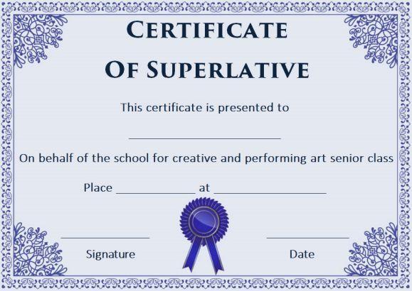 free superlative certificate templates - Superlative Certificate Template 2