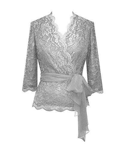 Plus Size Grey Lace Evening Blouse 1x Color Alex Evenings