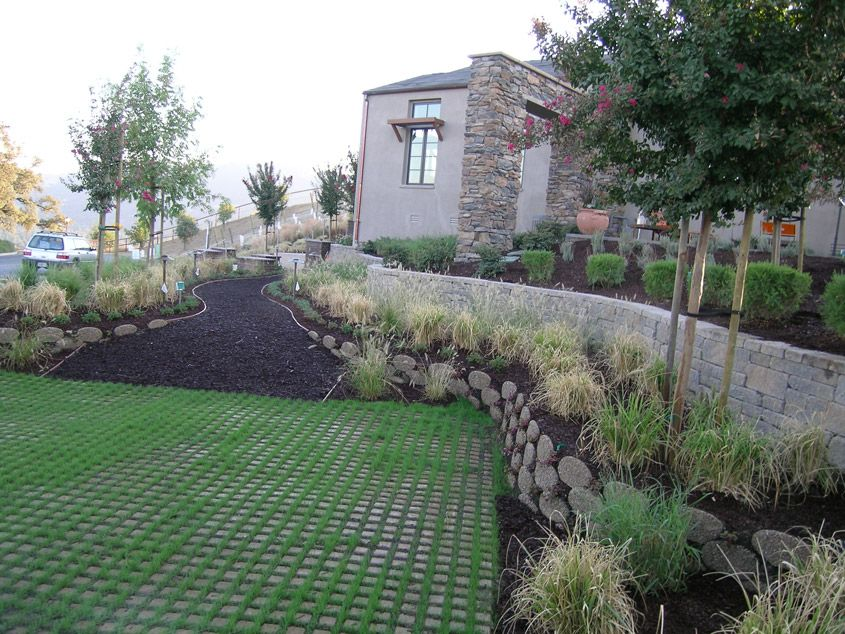 Permeable Pavers From Soil Retention   Drivable Grass® Project Gallery  Showing Patio Areas Made With