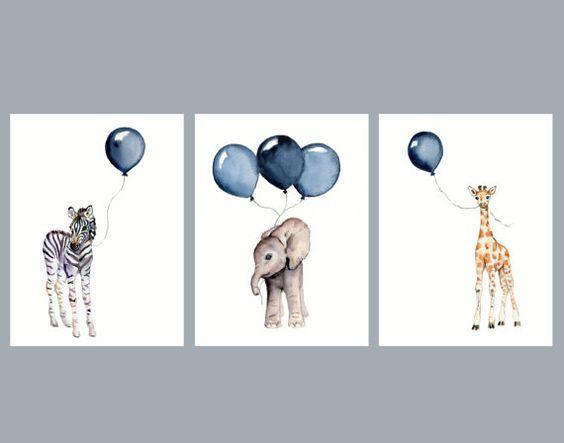 Blue Yellow Baby Boy Nursery Wall Art Elephant Safari Animals Giraffe Decor 3 UNFRAMED PRINTS