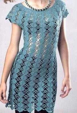 8df46746772e blue crochet dress | Crocheting | Vestidos de ganchillo, Vestidos y ...
