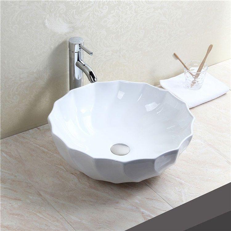 洗面ボール 手洗い鉢 手洗器 洗面ボウル 洗面器 陶器 丸型 白色 排水栓