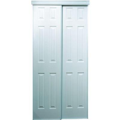 Truporte 60 In X 80 In 106 Series Composite White Interior Sliding Door 340011 The Home Depot Sliding Doors Sliding Closet Doors Interior