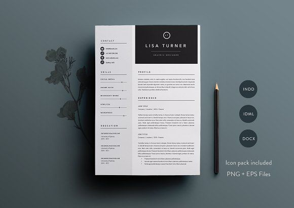 Resume Template Indesign 3 Page Resume Template  Indd  Docxbasic Creations On