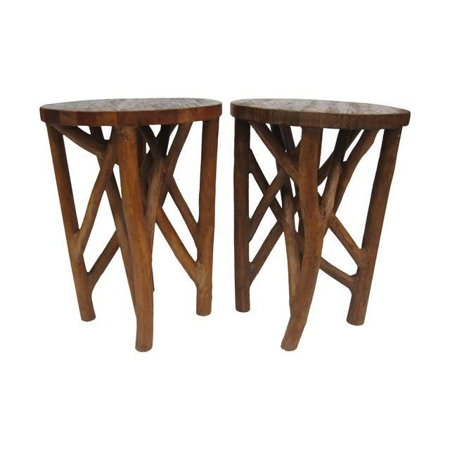 Image of Faux Bois Tables - Pair